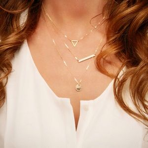 Jewelry - 4 for $25 triangle bar coin layer necklace